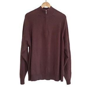 TIGER WOODS Brown Cashmere Zip Sweater L